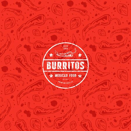 Seamless pattern and emblem for mexican restaurant. Design with images of chili pepper. White label on red background Stock Illustratie