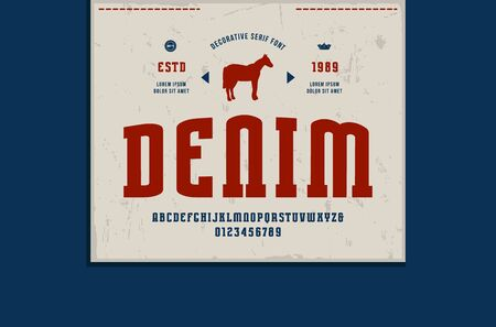 Stock vector narrow slab serif font and denim label template. Letters and numbers for logo design  イラスト・ベクター素材