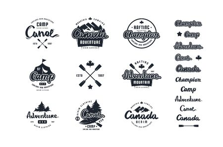Set of emblem and logo for t-shirt. Graphic design on the theme of camping, hiking, rafting, tourism and active lifestyle. Isolated on white background Çizim