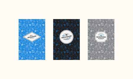 Set of cover, label, logo and seamless pattern  for seafood market. Various colors background