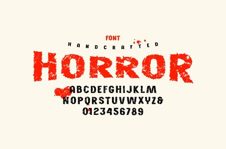 Stock vector sans serif handcrafted font, alphabet, typography. Letters and numbers with vintage texture for movie, halloween logo and headline design. Color print on white background Иллюстрация
