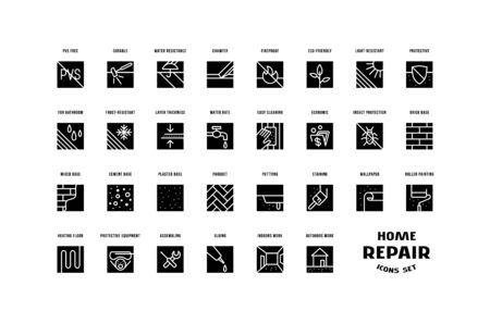 Home repair and building set of square icons. For packaging, label and web design. Isolated on white background