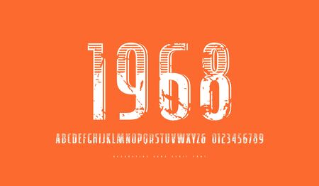 Decorative  sans serif narrow font in retro style. Letters and numbers with rough texture for logo and label design. White print on orange background