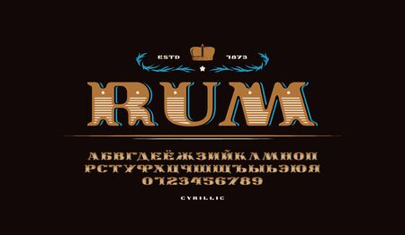 Decorative cyrillic extended serif font in retro style. Letters and numbers for logo and label design. Color print on black background