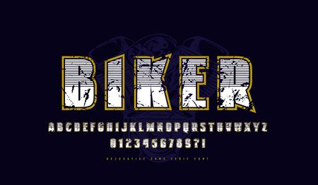 Decorative sans serif font with contour. Letters and numbers with vintage texture for logo and t-shirt design in sport style. Color print on black background