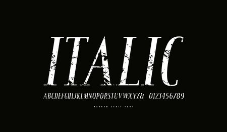 Italic narrow serif font in antique style. Letters and numbers with vintage texture for logo, headline and label design. White print on black background