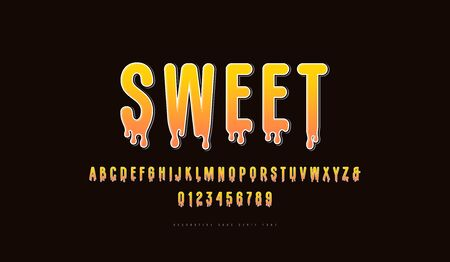 Decorative bright color sans serif font. Letters and numbers for honey logo and label design. Print on black background