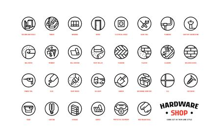 Hardware shop and building icons set in thin line style. For packaging, label and web design. Isolated on white background Ilustração