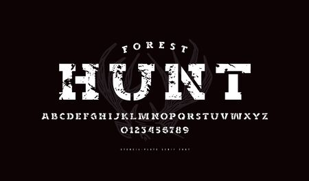 Stencil-plate serif font in military style. Bold face. Letters and numbers with vintage texture for logo and label design
