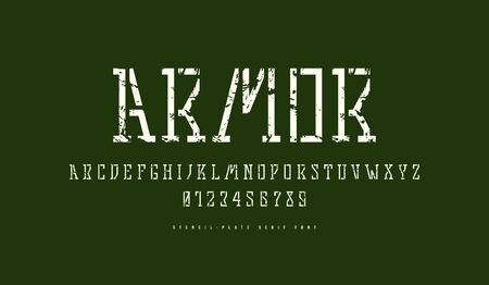 Stock vector stencil-plate slab serif font in military style. Letters and numbers with vintage texture for logo design. White print on green background