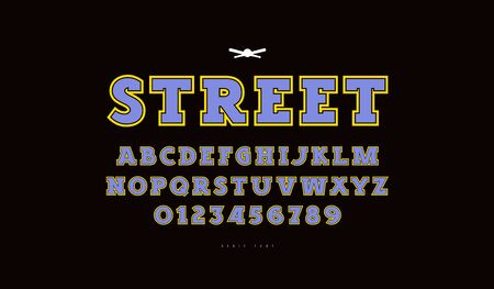 Slab serif font with contour. Letters and numbers for athletic t-shirt design. Color print on black background  イラスト・ベクター素材