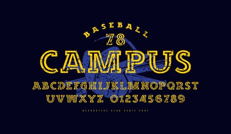 Slab serif font with inner contour. Letters and numbers with vintage texture for athletic t-shirt design. Color print on black background