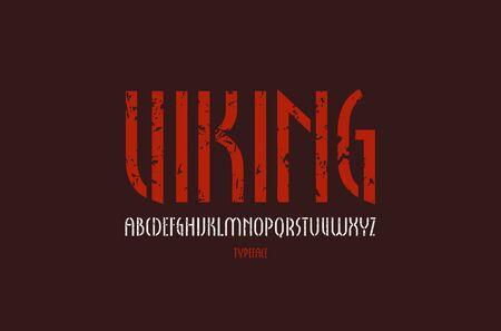 Stencil-plate narrow sans serif font in new gothic style. Letters with vintage texture for label design. Color print on black background Vektoros illusztráció