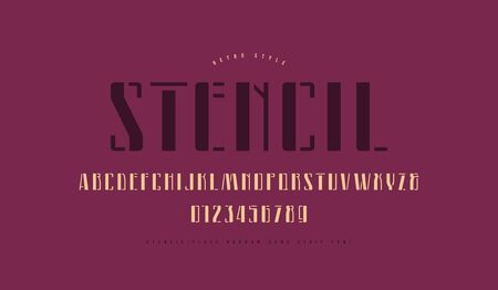 Stencil-plate narrow sans serif font. Letters and numbers for label design