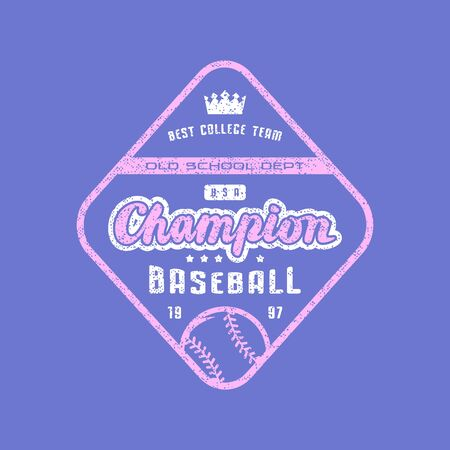 Rhombus emblem of champions baseball team. Graphic design for sticker and t-shirt. Color print on violet background