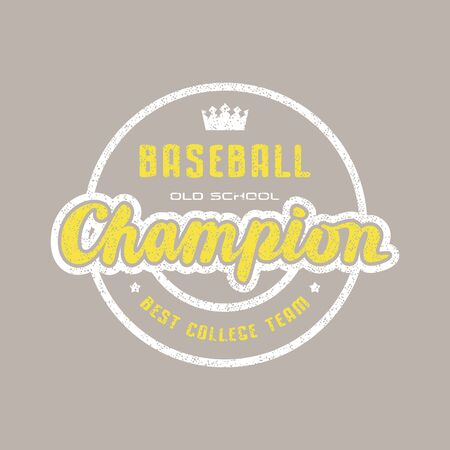 Round emblem of champions baseball team. Graphic design for sticker and t-shirt. Color print on brown background