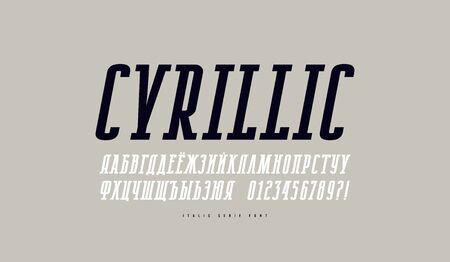 Cyrillic italic narrow slab serif font. Letters and numbers for emblem design. Print on gray background