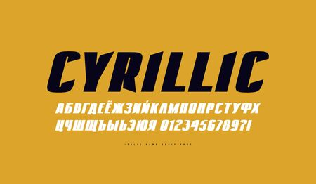 Cyrillic italic sans serif font. Extra bold face. Letters and numbers for emblem design. Print on yellow background