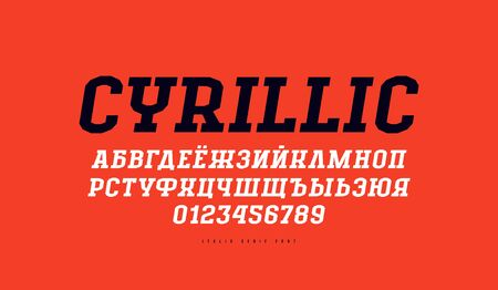 Cyrillic italic slab serif font in the sport style. Letters and numbers for title design. Print on red background