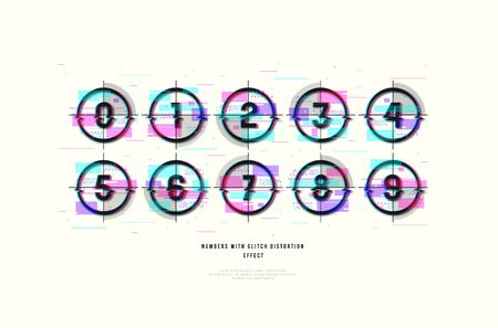 Stock vector decorative numbers in round frames. Design with glitch distortion effect. Color print on white background Stock Illustratie