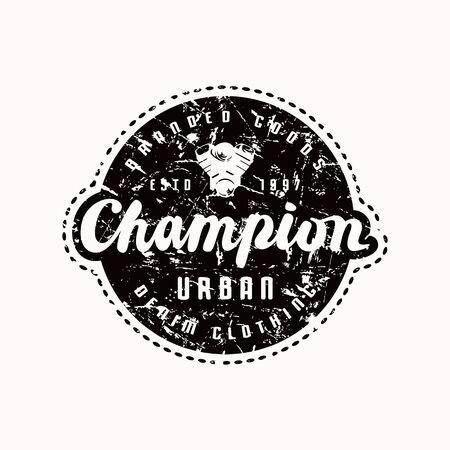 Emblemat mistrza wyścigów na koszulkę. Czarny nadruk na białym tle
