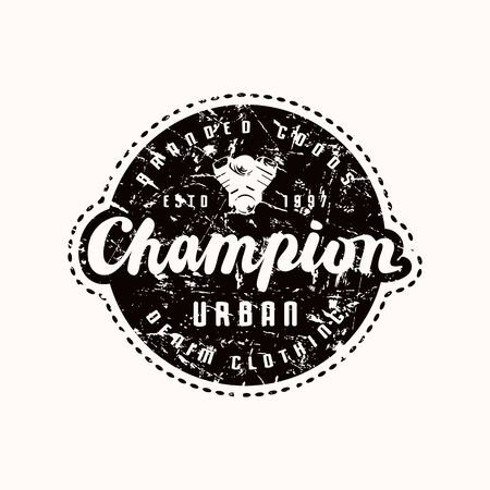 Racing champion emblem for t-shirt. Black print on white background