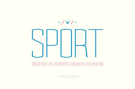 Sans serif font in the sport style. Thin line typeface. Letters and numbers for emblem design. Color print on white background
