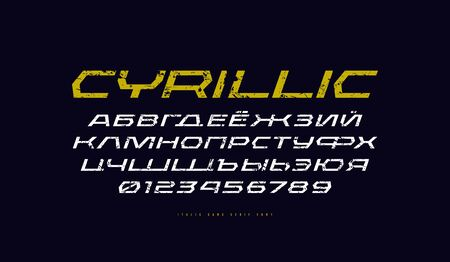 Cyrillic italic sans serif font in sport style. Letters and numbers with vintage texture for title design. Print on black background