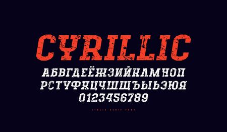 Cyrillic italic slab serif font in the sport style. Letters and numbers with vintage texture for title design. Print on black background  イラスト・ベクター素材