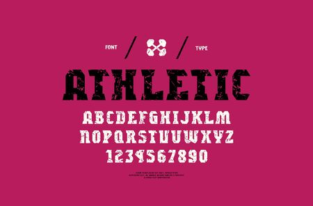 Stock vector serif font, alphabet, typeface. Letters and numbers with vintage texture for gym, workout, athletic and headline design  イラスト・ベクター素材