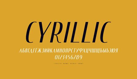 Cyrillic italic narrow sans serif font. Letters and numbers for label design. Print on yellow background