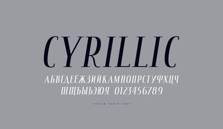 Cyrillic italic narrow serif font. Letters and numbers for label design. Print on gray background
