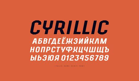 Cyrillic italic sans serif font in the sport style. Letters and numbers for title design. Print on red background  イラスト・ベクター素材