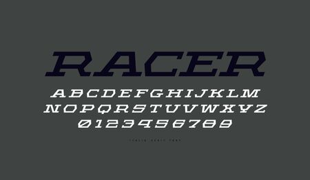 Geometric italic serif font in sport style. Letters and numbers for sci-fi, military, racing and title design. Print on gray background