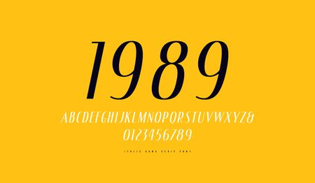Italic narrow sans serif font. Letters and numbers for label design. Print on yellow background