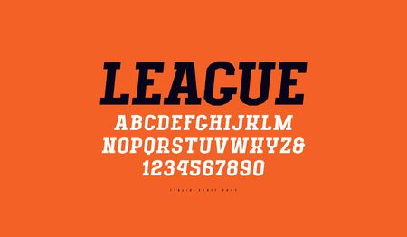 Italic serif font in sport style. Letters and numbers for titles and design. Print on red background