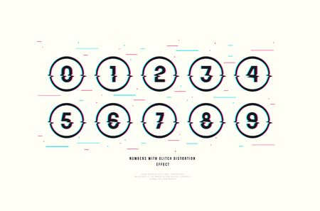 Stock vector decorative numbers in round frames. Design with glitch distortion effect. Color print on white background  イラスト・ベクター素材