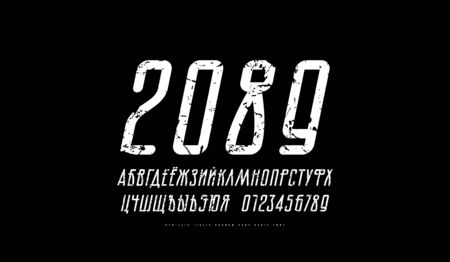 Cyrillic italic sans serif font with rounded corners. Letters and numbers with vintage texture for logo and label design. White print on black background  イラスト・ベクター素材