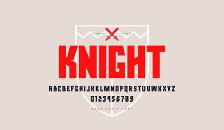 Decorative geometric sans serif font. Letters and numbers for logo and emblem design  イラスト・ベクター素材