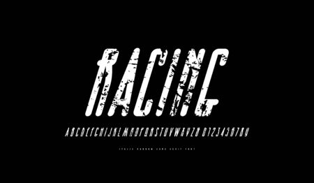 Italic condensed sans serif font with rounded corners. Letters and numbers with vintage texture for logo and label design. White print on black background  イラスト・ベクター素材