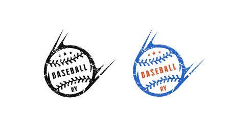 Baseball ball emblem for t-shirt. Design with vintage texture. Black and color print on white background Vektorové ilustrace