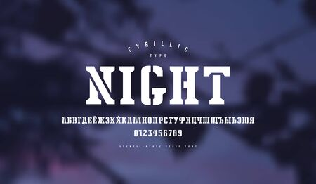 Cyrillic stencil-plate serif font. Letters and numbers for logo and emblem design. White print on blurred background Imagens - 132152016