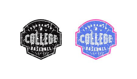Emblem of college baseball team for t-shirt. Design with vintage texture. Black and color print on white background Illustration