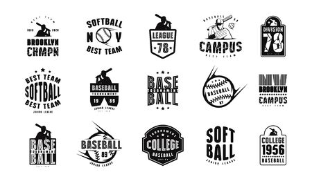 Emblems and badges set of campus baseball team. Graphic design for sticker and t-shirt. Black print on white background