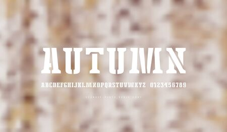 Stencil-plate serif font. Letters and numbers for logo and emblem design. White print on blurred background Imagens - 132152083