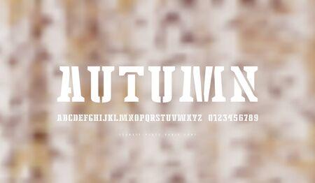 Stencil-plate serif font. Letters and numbers for logo and emblem design. White print on blurred background Ilustração