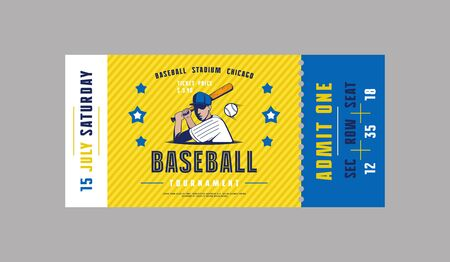 Template of baseball ticket. Graphic design in minimalist style