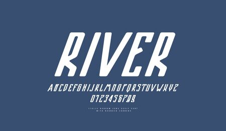 Italic narrow sans serif font with rounded corners. Letters and numbers emblem design. White print on blue background