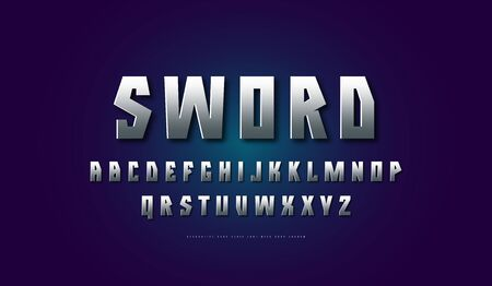 Stock silver colored and metal chrome geometric sans serif font. Letters for movie, viking and military  design