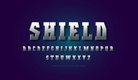 silver colored and metal chrome geometric serif font. Letters for movie, viking and military design